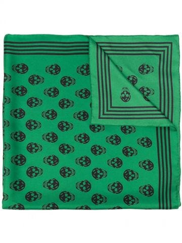 Scarf with green skull