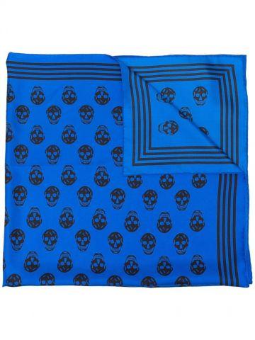 Foulard con teschio blu