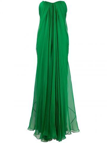 Green draped details long dress
