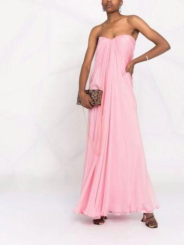 Pink draped details long dress