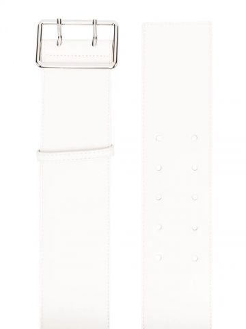 White double-buckle leather belt