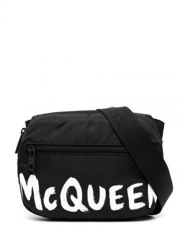 Black printed McQueen graffiti signature belt bag