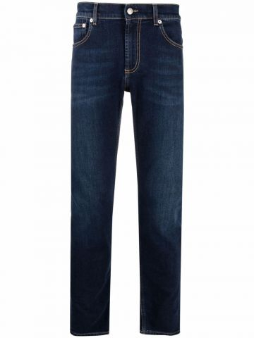 Blue logo-embroidered skinny jeans