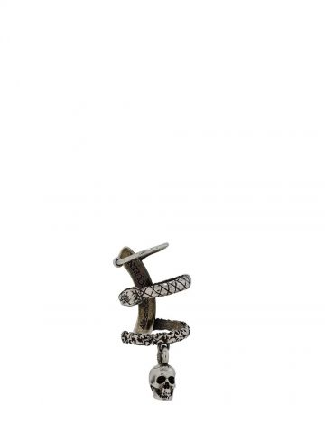Silver Skull and Snake Ear Cuff