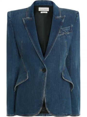 Blue denim blazer