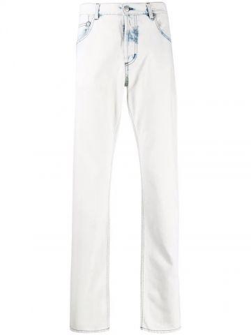 White acid wash straight leg jeans
