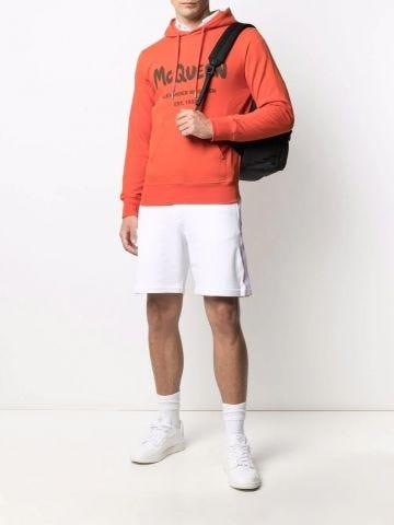 White Selvedge logo-tape track shorts