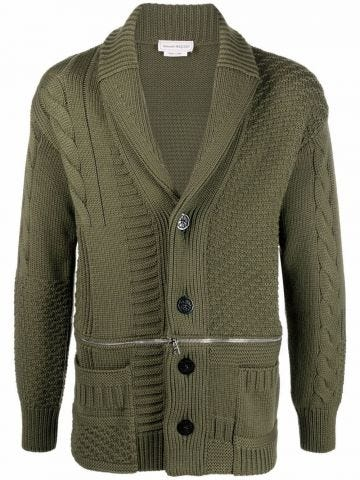 Green cable-knit wool cardigan
