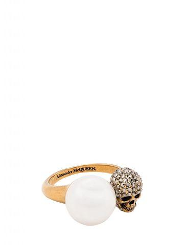 Anello Skull Effetto Perla oro