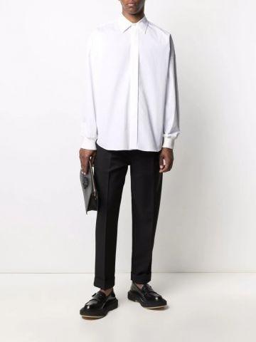White drop-shoulder long-sleeve shirt