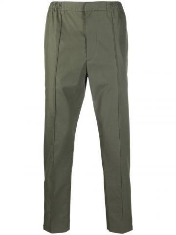 Green logo-strap pants