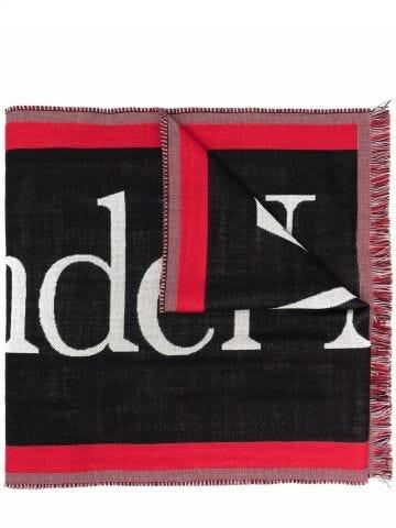 Sciarpa in lana nera con intarsio logo