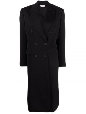 Black mid-length Hybrid McQueen Graffiti coat