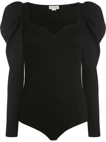 Black bodysuit with sweetheart neckline