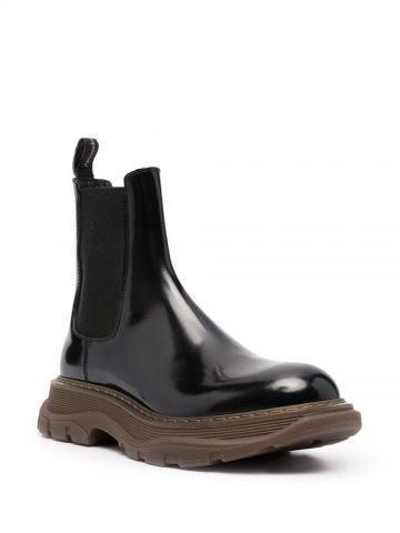 Black Tread Slick ankle boots