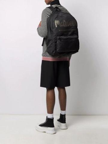 Black McQueen Graffiti Oversized Backpack