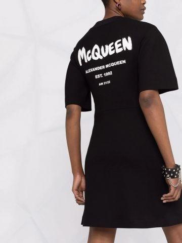Short black print dress