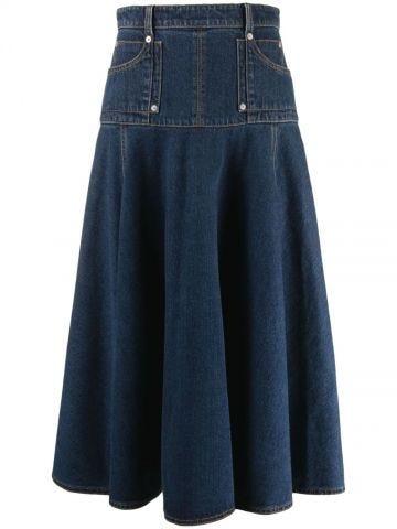 Blue denim flared skirt