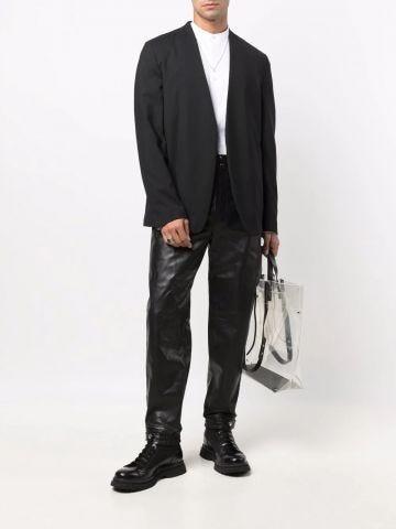Black leather track pants