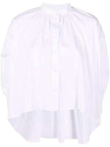 White drop-hem collarless blouse