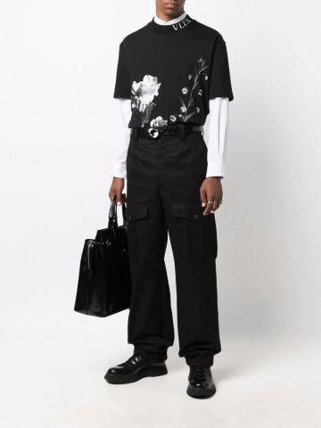 Black Japanese cotton gabardine Baggy Military Trousers