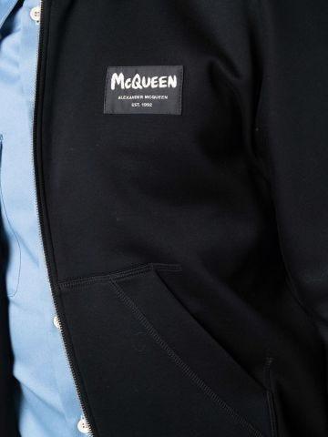 Bomber nero con logo McQueen Graffiti