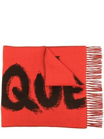 Sciarpa McQueen Graffiti Oversize rossa