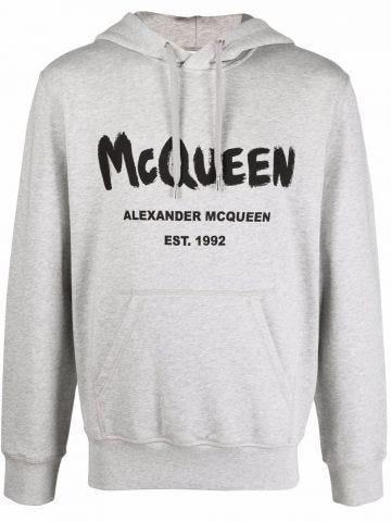 Felpa McQueen Graffiti grigia con cappuccio