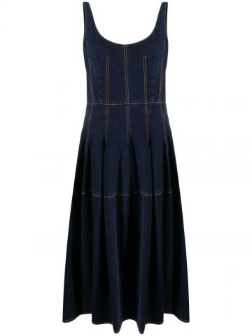 Blue denim stitched detailing flared midi dress