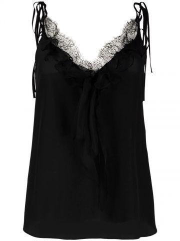 Black Ruffle Detail Camisole