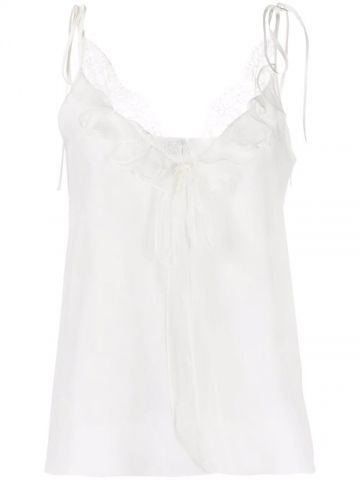 White Ruffle Detail Camisole