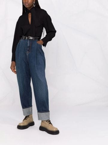 Blue high-rise tapered jeans