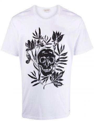 T-shirt bianca con Floral Skull
