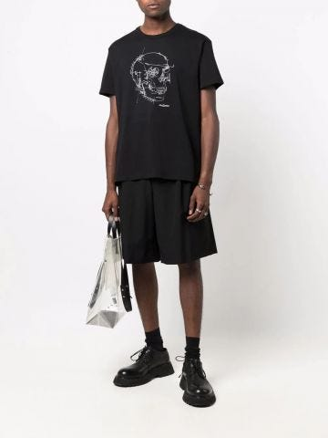 T-shirt Oversize nera con Motivo Teschio