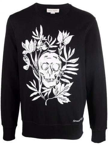 Felpa Floral Skull nera