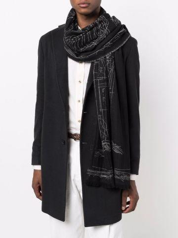 Sciarpa in lana nera con stampa grafica