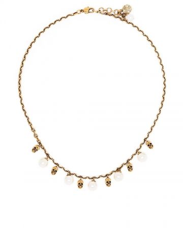 Collana dorata con perle
