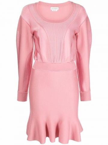 Pink peplum short dress
