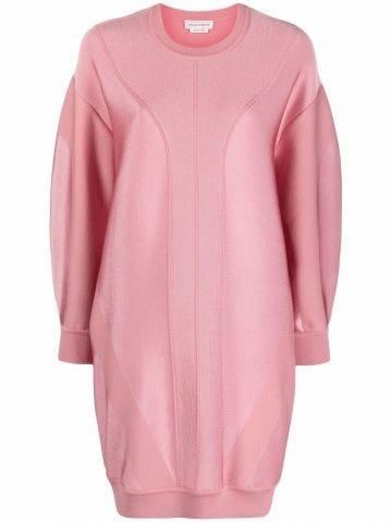 Pink sweater pattern dress