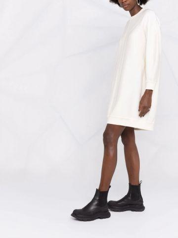 White sweater pattern dress