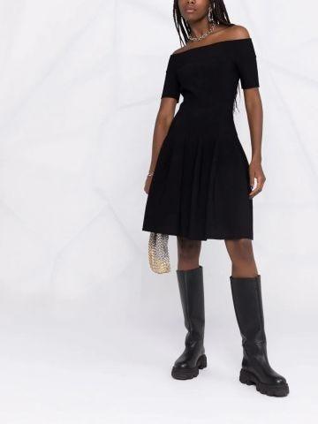 Black off-shoulder skater dress