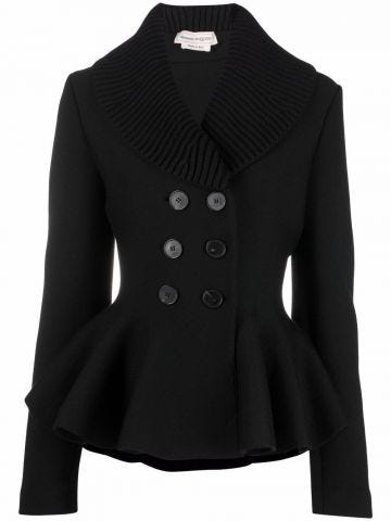Black fitted double breasted jacket