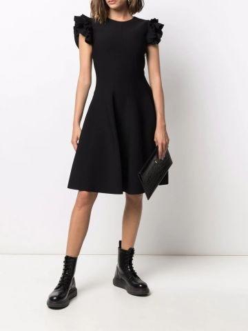 Black ruffled sleeve mini dress