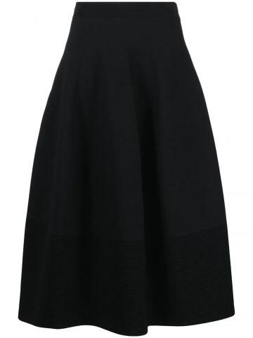 Black ribbed detailing full midi skirt