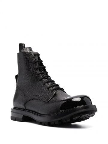 Black Worker Lace-Up Boots