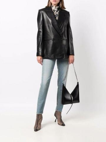 Black double-breasted lambskin blazer