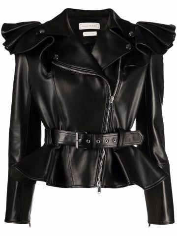 Black leather ruffle-shoulder biker jacket
