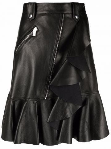Black Leather Mini Skirt with Ruffle Detail