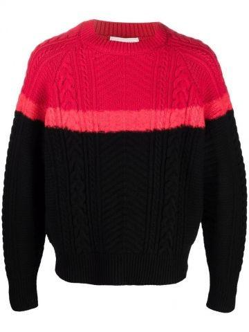 Maglione intrecciato rosso e nero