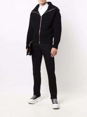 Black Funnel Neck Zip Through Cardigan